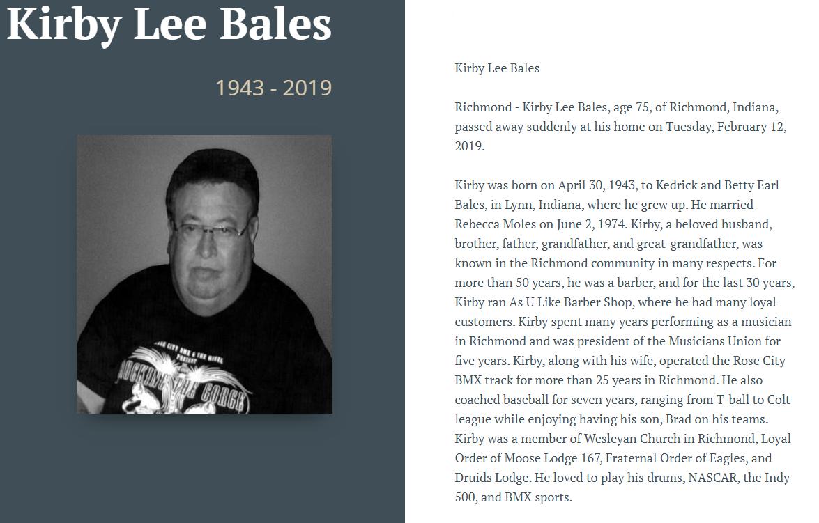 Kirby Bales - Obituary 1943-2019