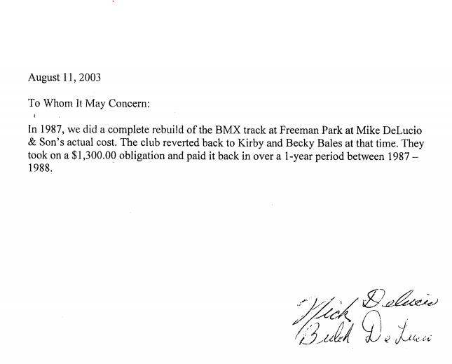 Delucio Family Pay To Rebuild BMX Track